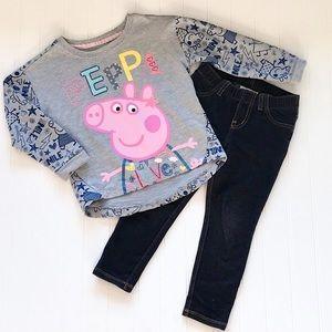 Toddler Girl Outfit, Peppa Love Top & Leggings.
